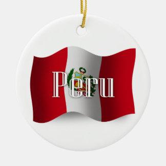 Peru Waving Flag Ceramic Ornament