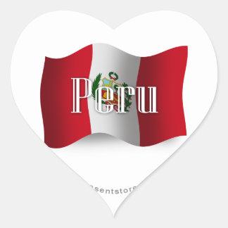Peru Waving Flag Heart Stickers