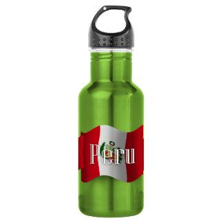 Peru Waving Flag Water Bottle