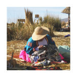 Peru Woman Sewing Embroidery Canvas Print