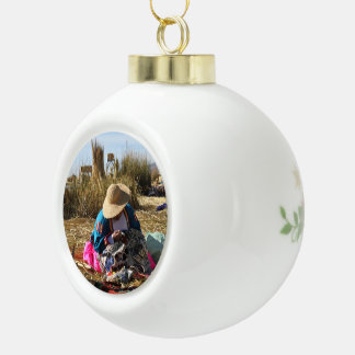 Peru Woman Sewing Embroidery Ceramic Ball Christmas Ornament