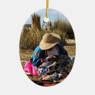 Peru Woman Sewing Embroidery Ceramic Ornament
