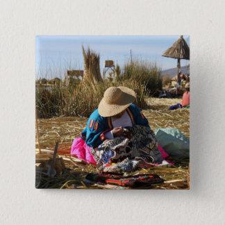 Peru Woman Sewing Embroidery Pinback Button