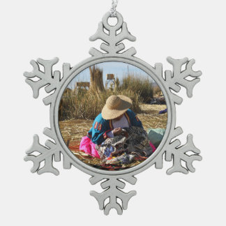 Peru Woman Sewing Embroidery Snowflake Pewter Christmas Ornament