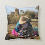 Peru Woman Sewing Embroidery Throw Pillow