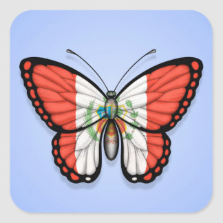 Peruvian Butterfly Flag on Blue Stickers