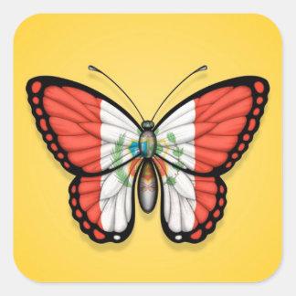 Peruvian Butterfly Flag on Yellow Sticker