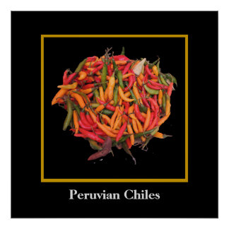 Peruvian Chile Peppers - Yellow Red and Green Poster
