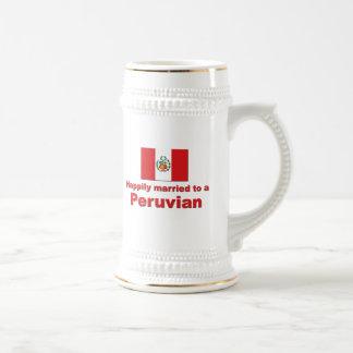 Peruvian feliz casados tazas de café