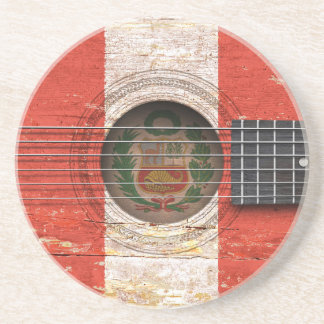 Peruvian Flag on Old Acoustic Guitar Coasters