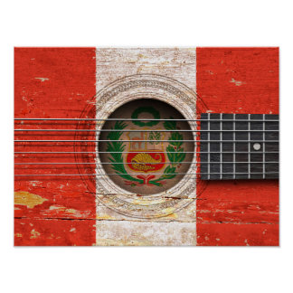 Peruvian Flag on Old Acoustic Guitar Poster