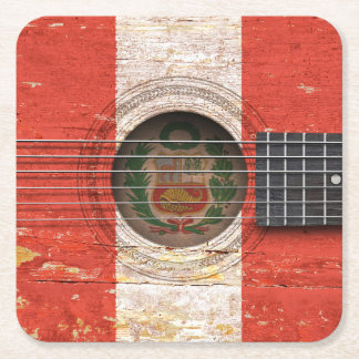 Peruvian Flag on Old Acoustic Guitar Square Paper Coaster