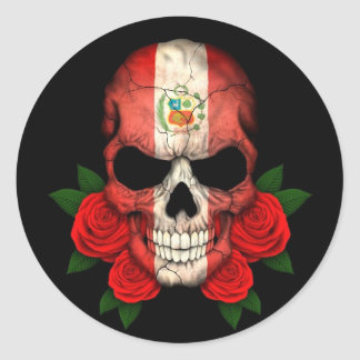 Peruvian Flag Skull with Red Roses Classic Round Sticker