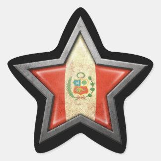 Peruvian Flag Star on Black Star Sticker