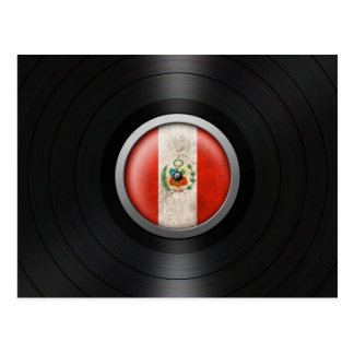 Peruvian Flag Vinyl Record Album Graphic Postcard