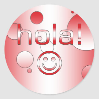 Peruvian Gifts : Hello / Hola + Smiley Face Classic Round Sticker