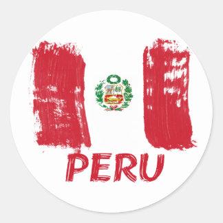 Peruvian grunge flag design round stickers