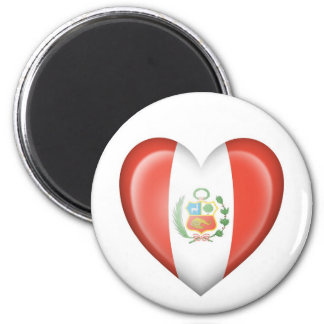 Peruvian Heart Flag on White Magnets