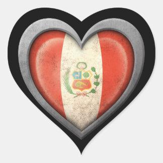 Peruvian Heart Flag with Metal Effect Sticker