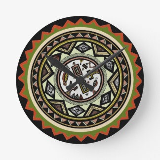 Peruvian Inca Wall Clock - Inca Tribal Wall Clock