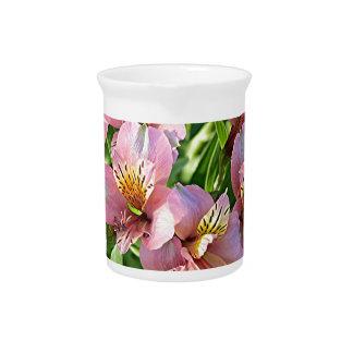 Peruvian lily (alstroemeria) flowers in bloom beverage pitchers