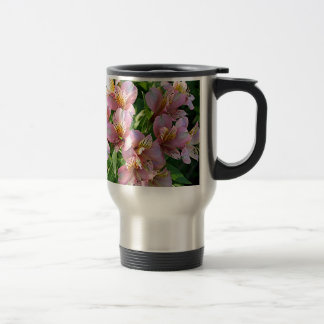 Peruvian lily (alstroemeria) flowers in bloom travel mug
