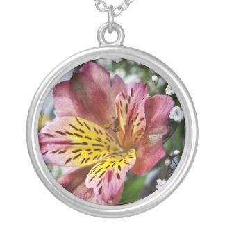Peruvian Lily and gypsophila flower necklace