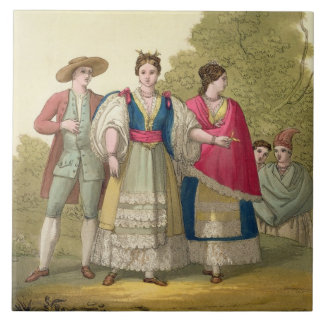 Peruvian Men and Women in Traditional Costume (col Tile