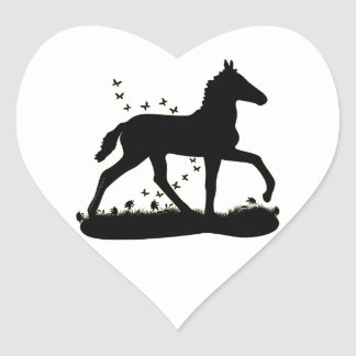 Peruvian Paso Foal Butterflies Heart Sticker