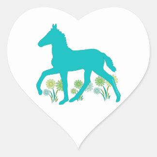 Peruvian Paso Foal Spring Flowers Heart Sticker