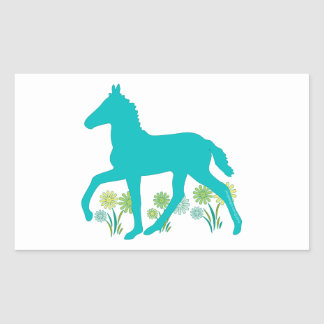 Peruvian Paso Foal Spring Flowers Rectangular Sticker
