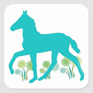 Peruvian Paso Foal Spring Flowers Square Sticker