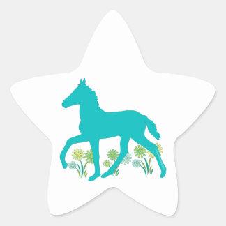 Peruvian Paso Foal Spring Flowers Star Sticker