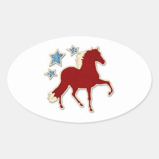 Peruvian Paso Horse Festive Stars Oval Sticker