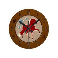 Peruvian Paso Horse Festive Stars Round Wallclocks
