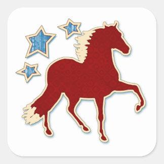 Peruvian Paso Horse Festive Stars Square Sticker