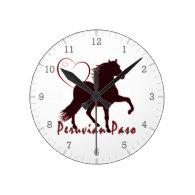 Peruvian Paso Horse Hearts Round Clock