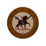 Peruvian Paso Horse Hearts Round Clocks