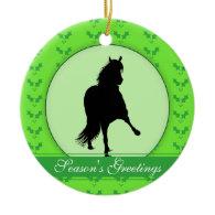 Peruvian Paso Horse Holly Season's Greetings Ornament
