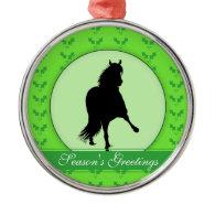 Peruvian Paso Horse Holly Season's Greetings Christmas Ornament