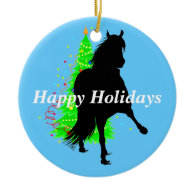 Peruvian Paso Horse Silhouette Happy Holidays Ornaments