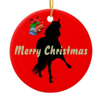 Peruvian Paso Horse Silhouette Merry Christmas ornament