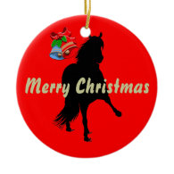 Peruvian Paso Horse Silhouette Merry Christmas Christmas Ornament