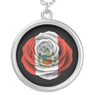 Peruvian Rose Flag on Black Silver Plated Necklace