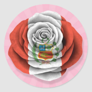 Peruvian Rose Flag on Pink Stickers