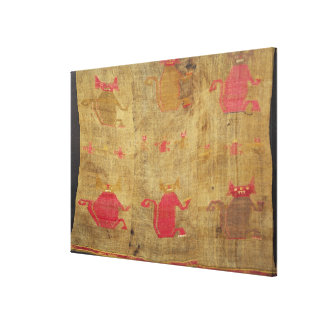 Peruvian shroud; cotton and vicuna brocaded canvas print