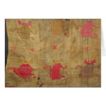 Peruvian shroud; cotton and vicuna brocaded card