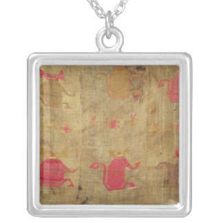 Peruvian shroud; cotton and vicuna brocaded silver plated necklace