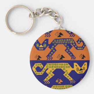 Peruvian Tribal Cats Basic Round Button Keychain