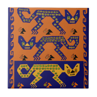 Peruvian Tribal Cats Ceramic Tile